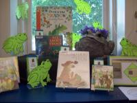 A Froggy book display at Westport Branch created by Andrea Allen